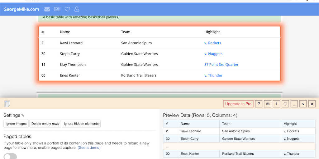 Table Capture - Easily copy tabular data from websites to Excel, Sheets, etc | Product Hunt