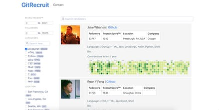 GitRecruit - Start sourcing candidate from Github | Product Hunt