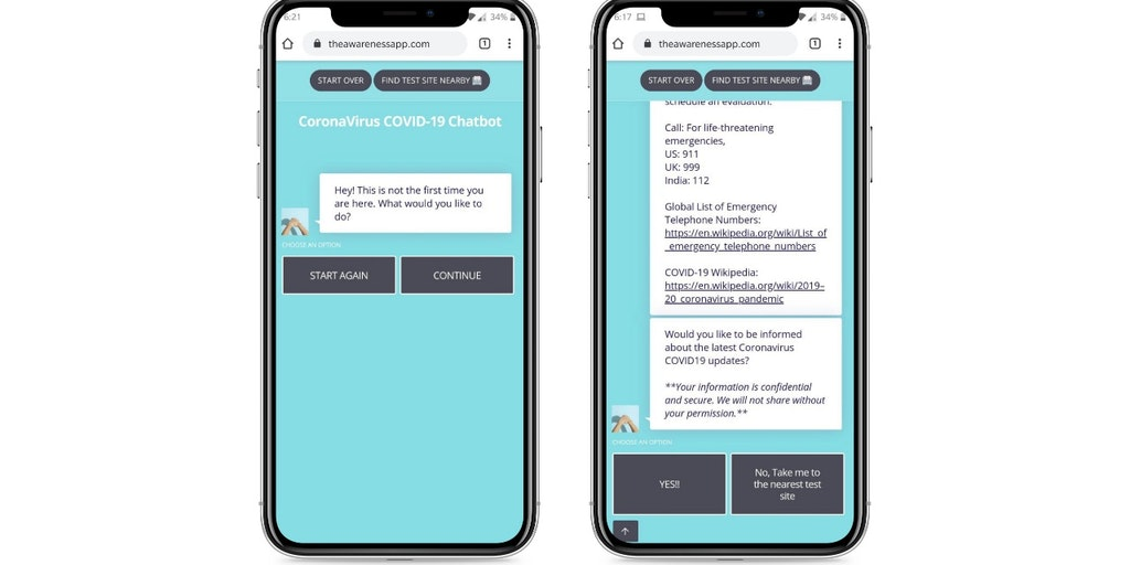 The Awareness Chatbot - COVID self-assessment, find nearby test sites and donate | Product Hunt