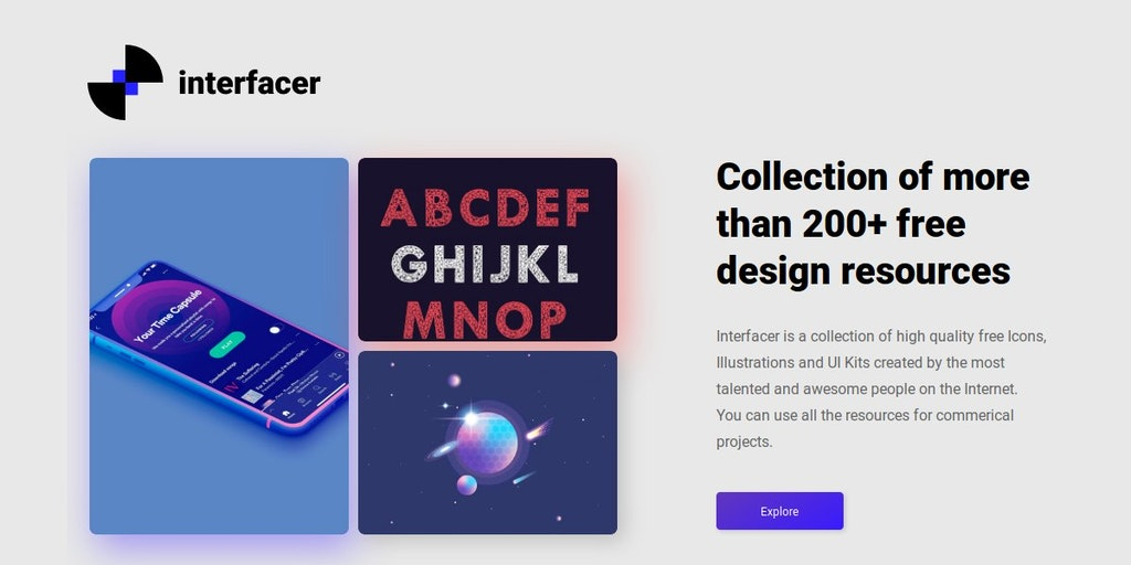 Interfacer - Collection of more than 200+ free design resources | Product Hunt