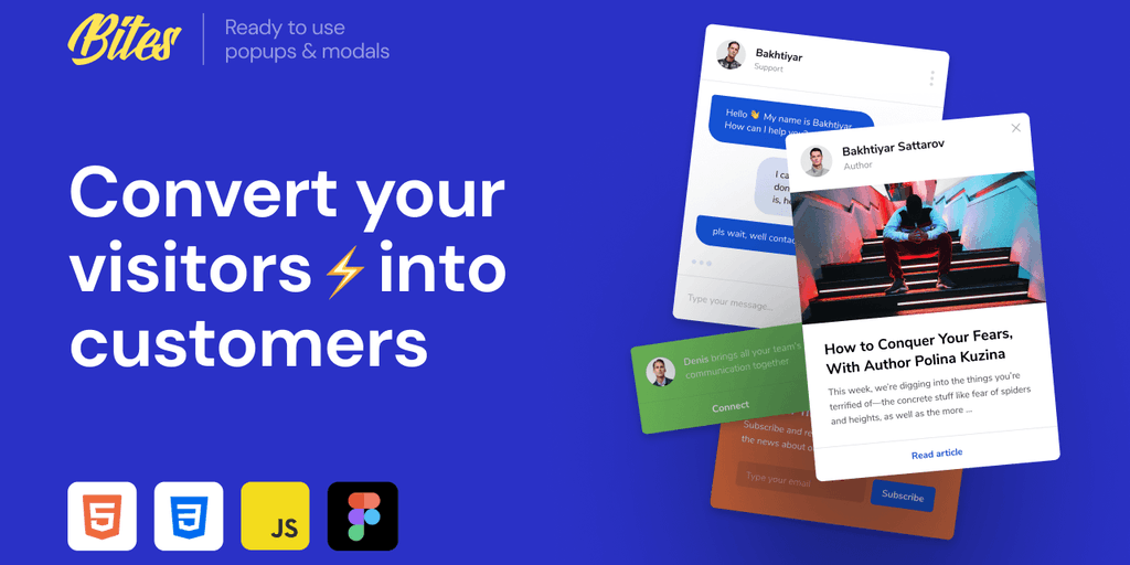 Bites 2 - Ready-to-use HTML/CSS popups to grab customers attention | Product Hunt