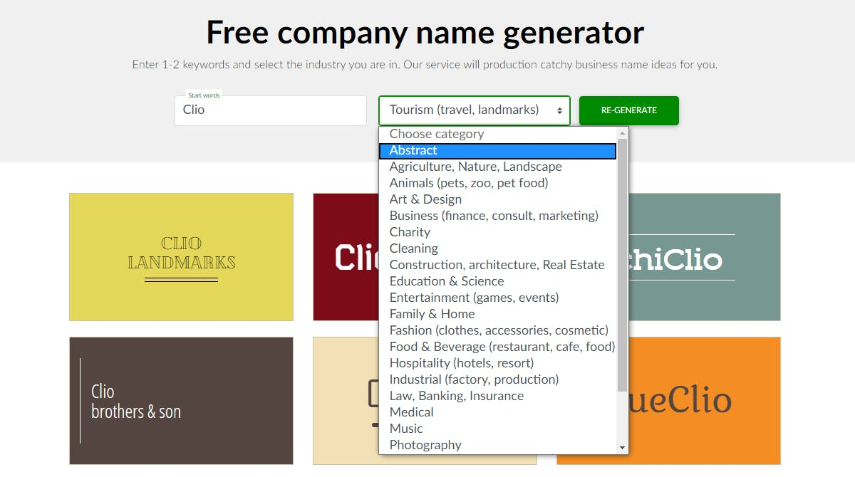Logaster Company Name Generator Create A Business Name In A Few Clicks Product Hunt