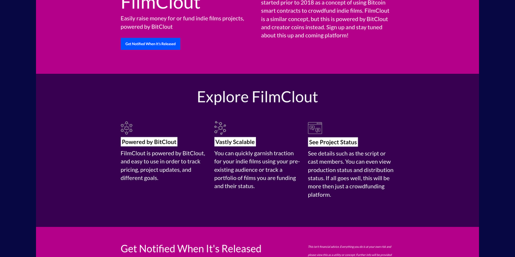FilmClout - An indie film crowdfunding/distribution platform on BitClout | Product Hunt