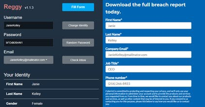 Reggy - Signup forms filled automatically with random identities