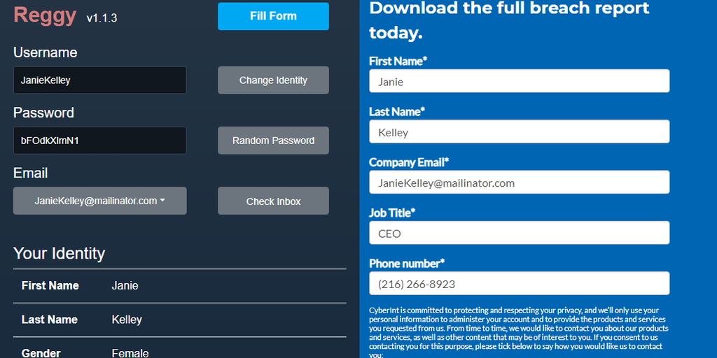 Reggy - Signup forms filled automatically with random