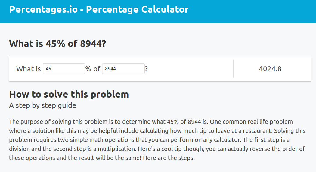 Percentages - Easy to use percentage calculator