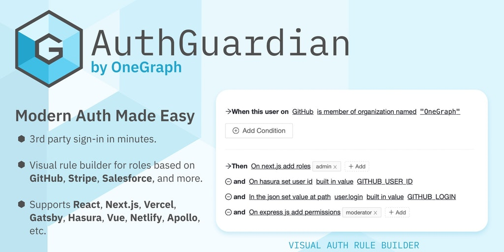 AuthGuardian by OneGraph - The easiest 3rd-party sign-in for your apps and APIs | Product Hunt