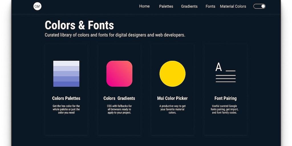 Colors and Fonts - Css gradients, color palettes & font