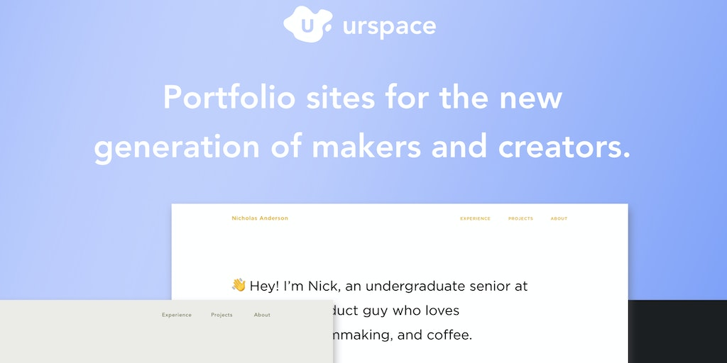 urspace - portfolio websites for a new generation of creators & makers | Product Hunt