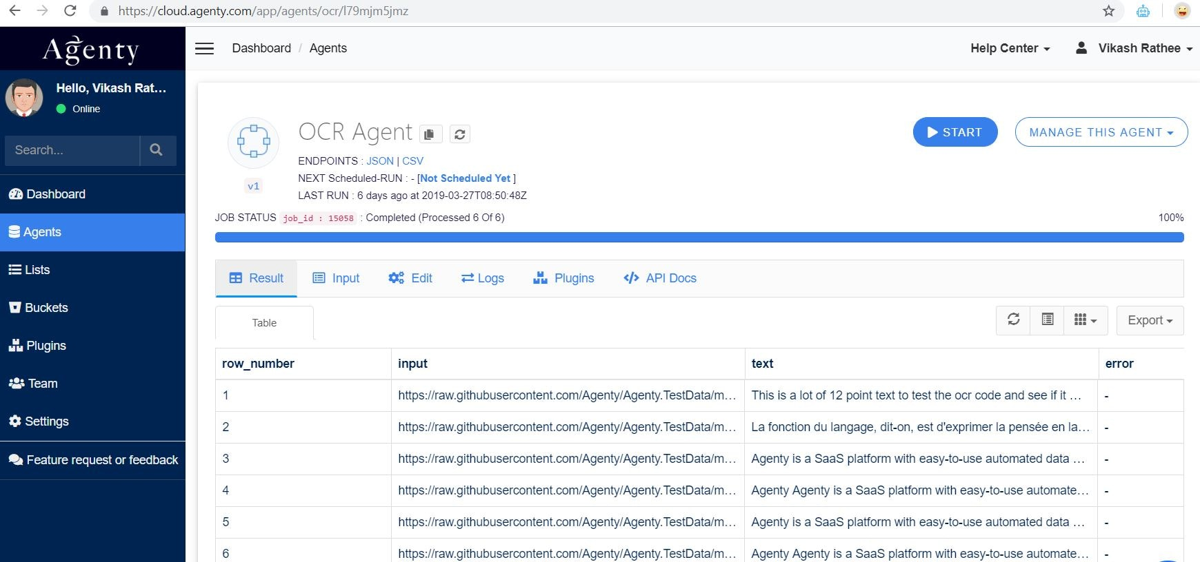 OCR Agent - Extract text from images and pdfs on cloud