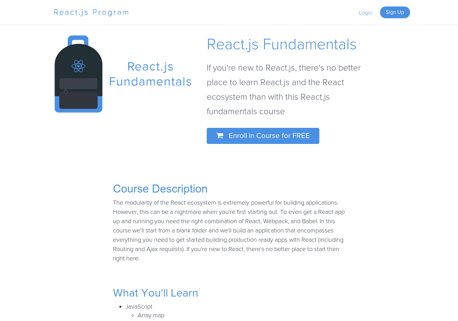 Free React js Fundamentals Course - A free course that