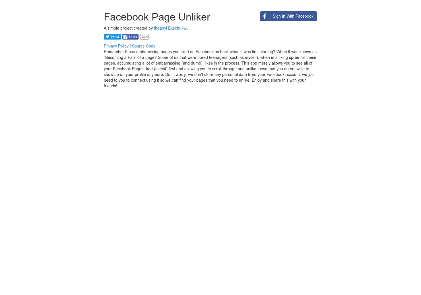 Facebook Page Unliker - See which FB pages you've liked and