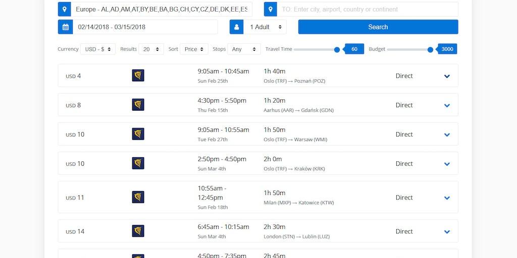 FlightList - Find cheap, one-way flights within a departure