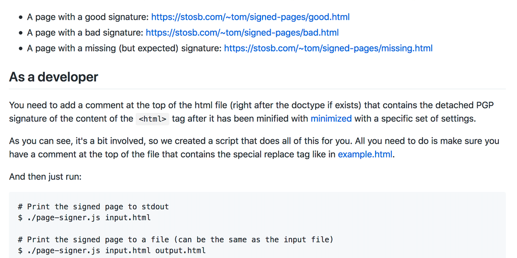 Signed Pages - A browser extension to verify the