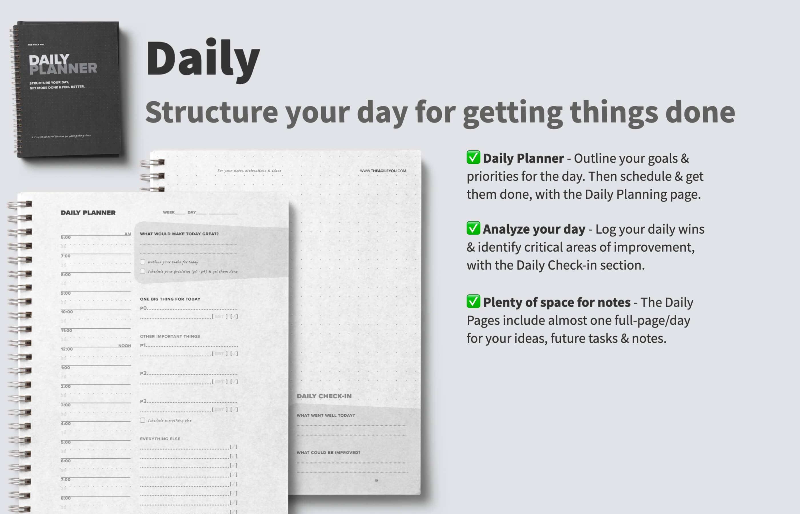 picture relating to Dailyplanner called The Agile Your self Every day Planner 2.0 - Set up your working day, receive