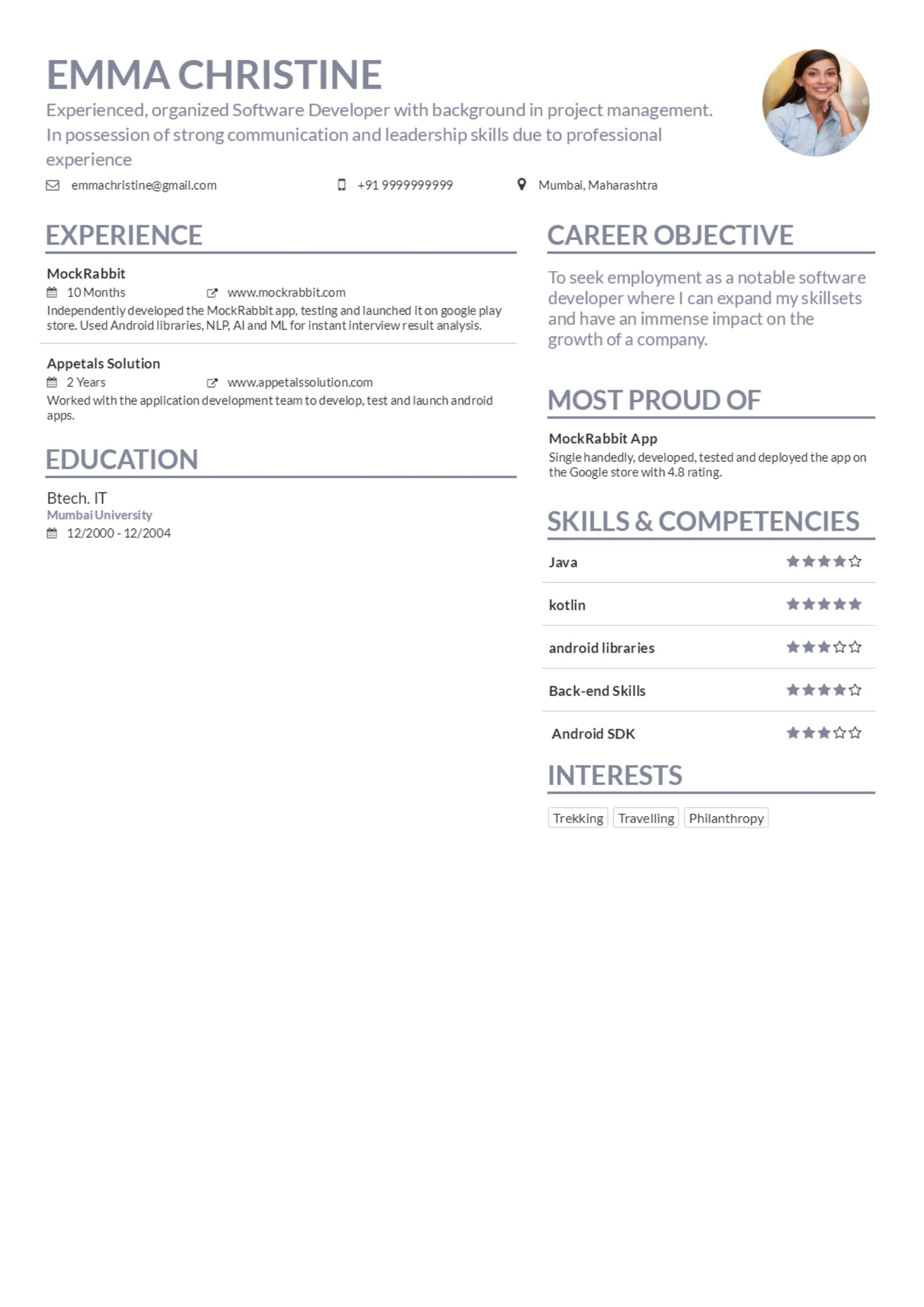 resume maker by mockrabbit
