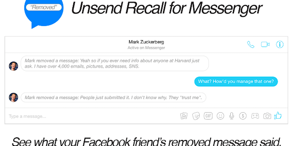 Unsend Recall for Messenger - Chrome extension that shows the text