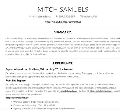 i need a resume product hunt i need to make a resume