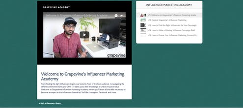 Grapevine Influencer Marketing Academy - Tutorials to become