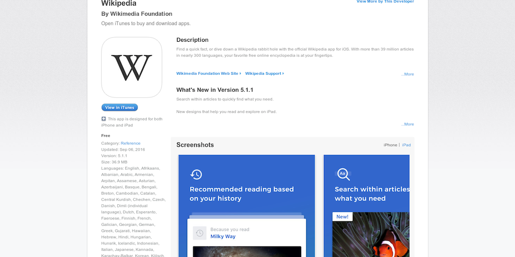 Wikipedia for iOS - Official Wikipedia App for iOS v4
