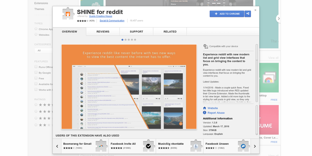 SHINE for reddit - Experience reddit in a whole new way (chrome