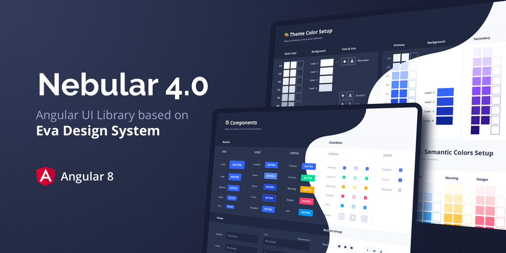 Nebular 4 - UI kit & Design System for web with light/dark