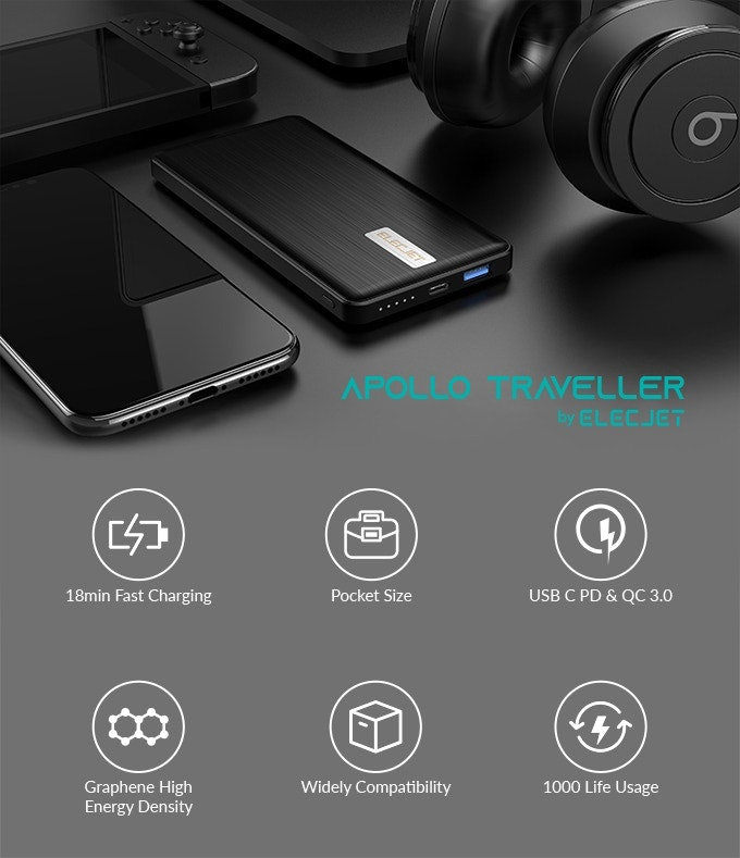 Apollo Traveller - Ultra slim, quick-charging power-bank