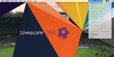 Livescore OSX - World cup live scores in menu bar