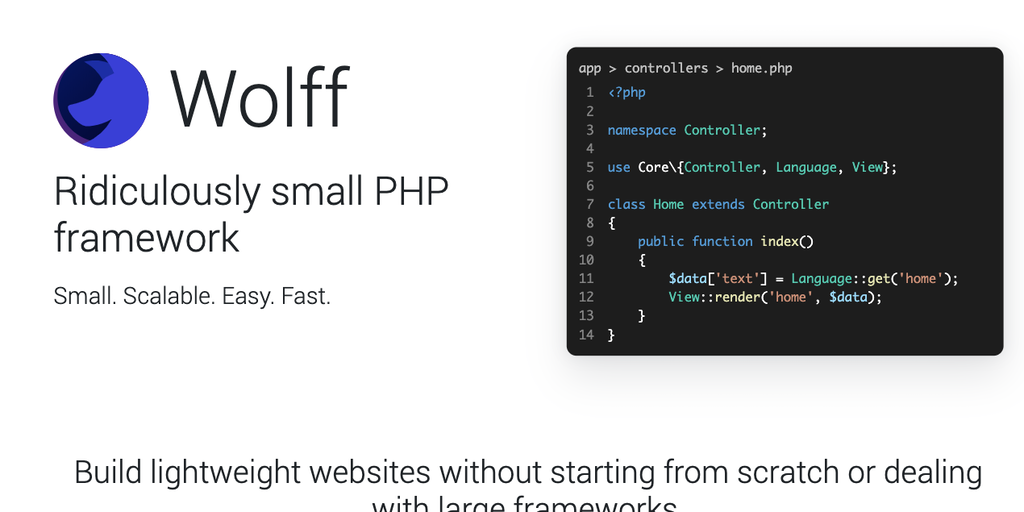 Wolff - Ridiculously small PHP framework for building web apps 🐺 | Product Hunt