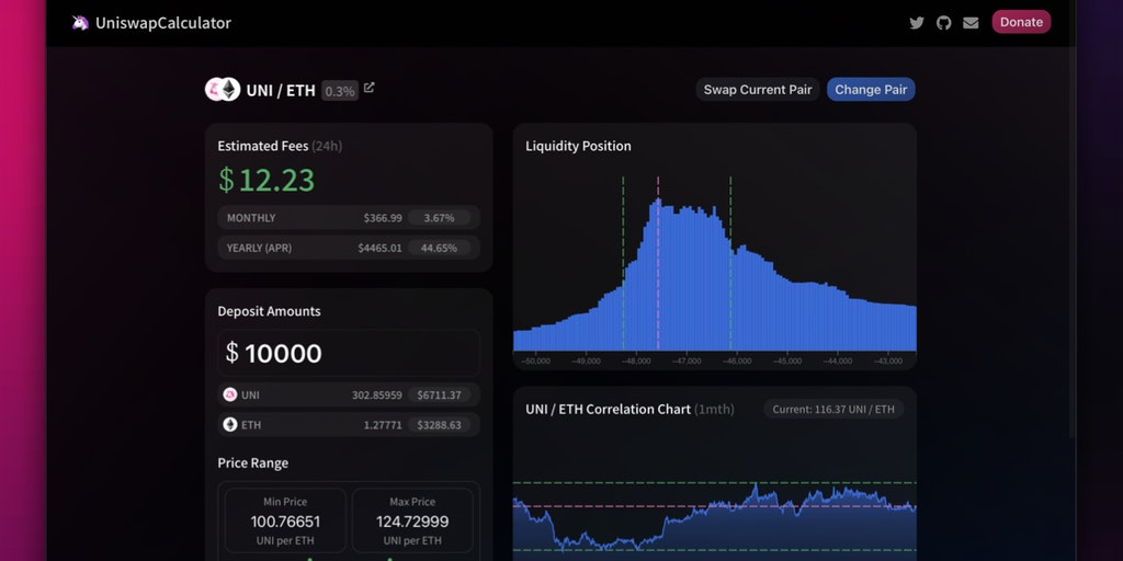 Uniswap V3 Calculator - Calculate your trading fees earn for Uniswap V3 | Product Hunt