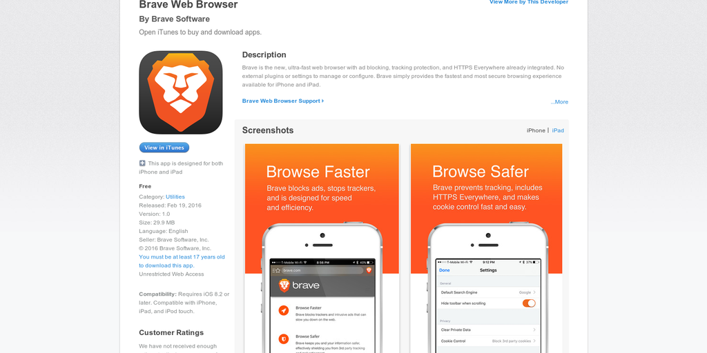Brave on iOS - A lightning fast mobile browser with ad-blocking
