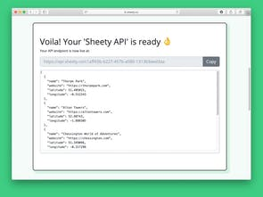 Sheety - Turn your Google Sheet into an API instantly, for