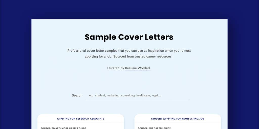 Sample Cover Letters - Collection of cover letter templates ...