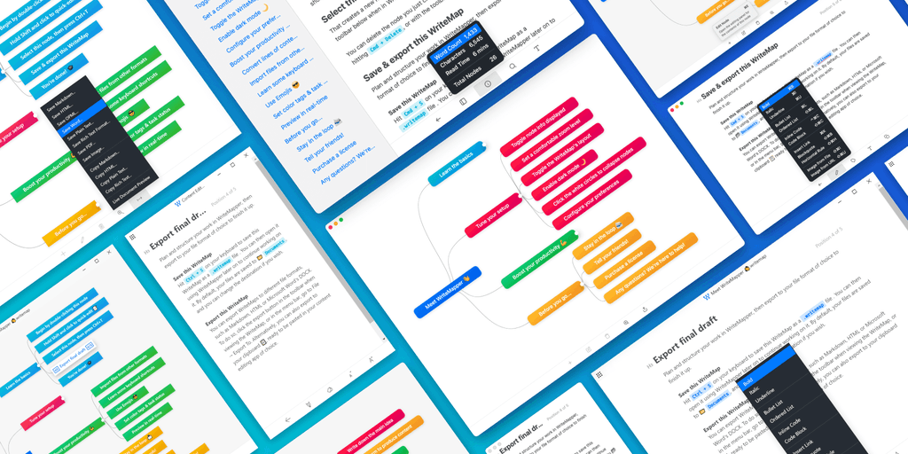 WriteMapper 3 - Get from idea to final draft in no time, using mind maps   Product Hunt