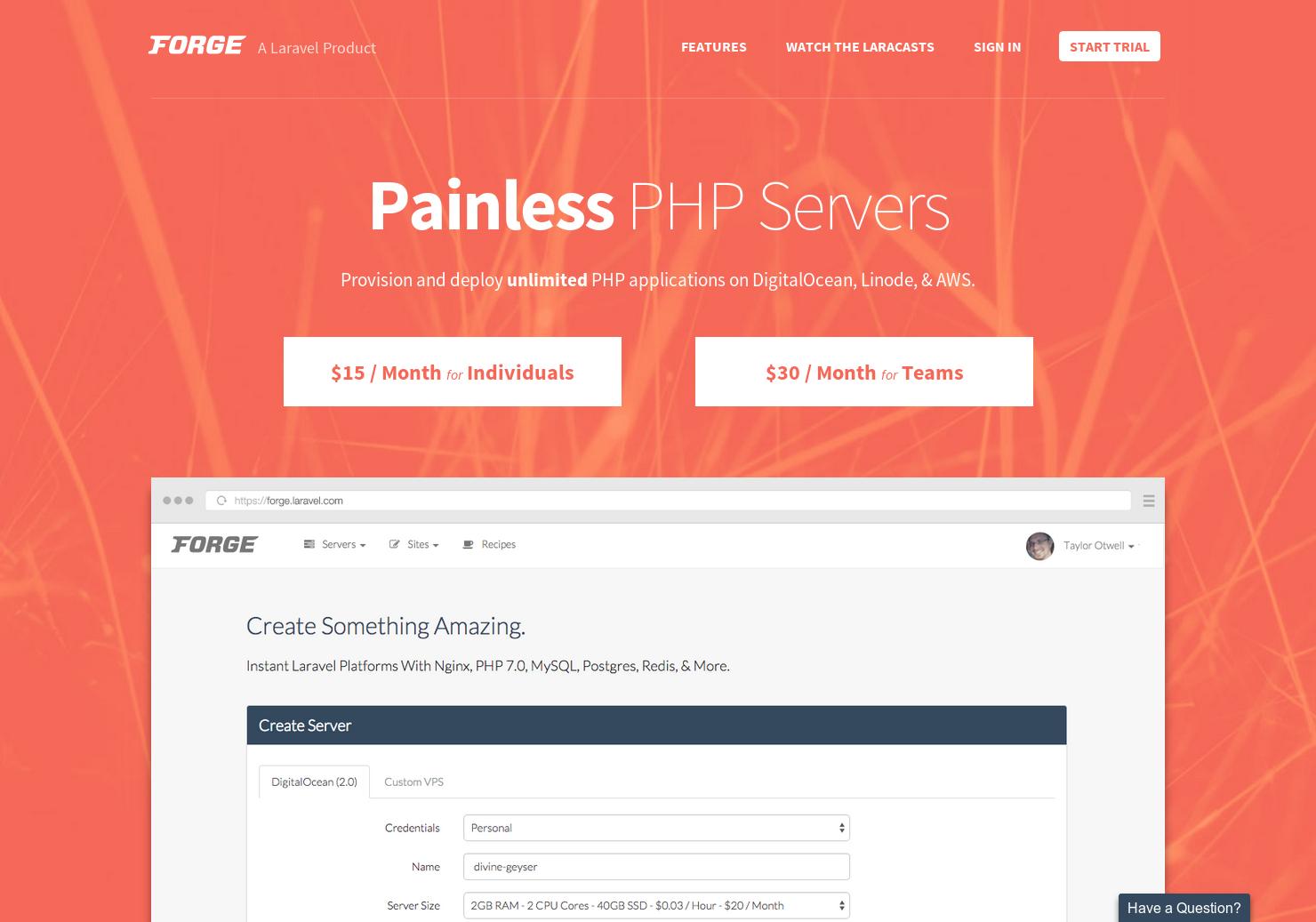 Laravel Forge - Instant PHP platforms on Linode, DigitalOcean, and
