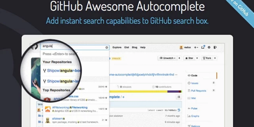 GitHub Autocomplete - Add instant search capabilities to GitHub's