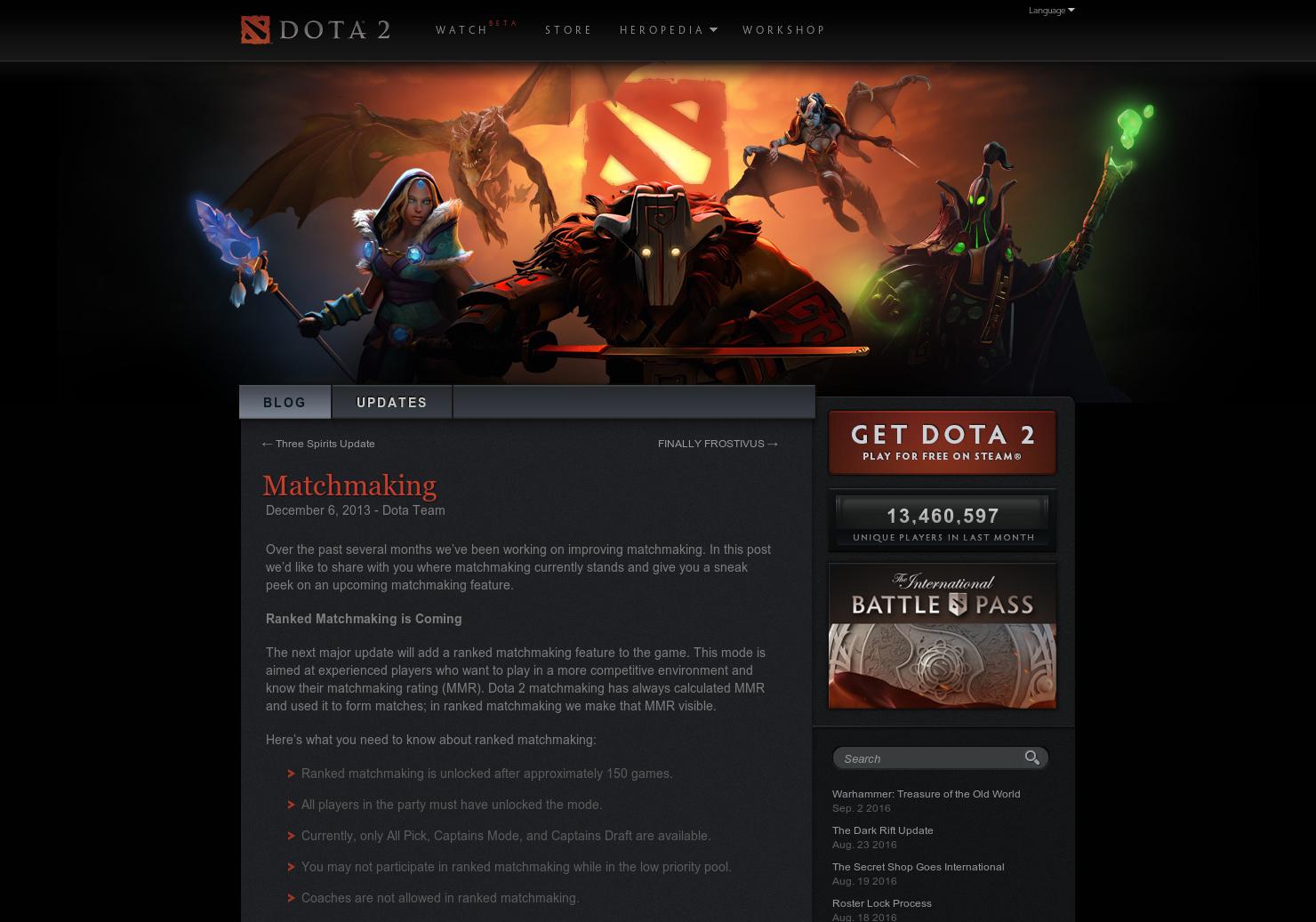 DotA 2 niveau de matchmaking