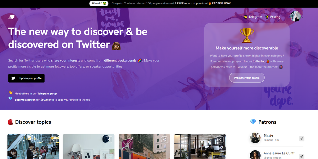 Twiverse — Discover diverse Twitter users & get more