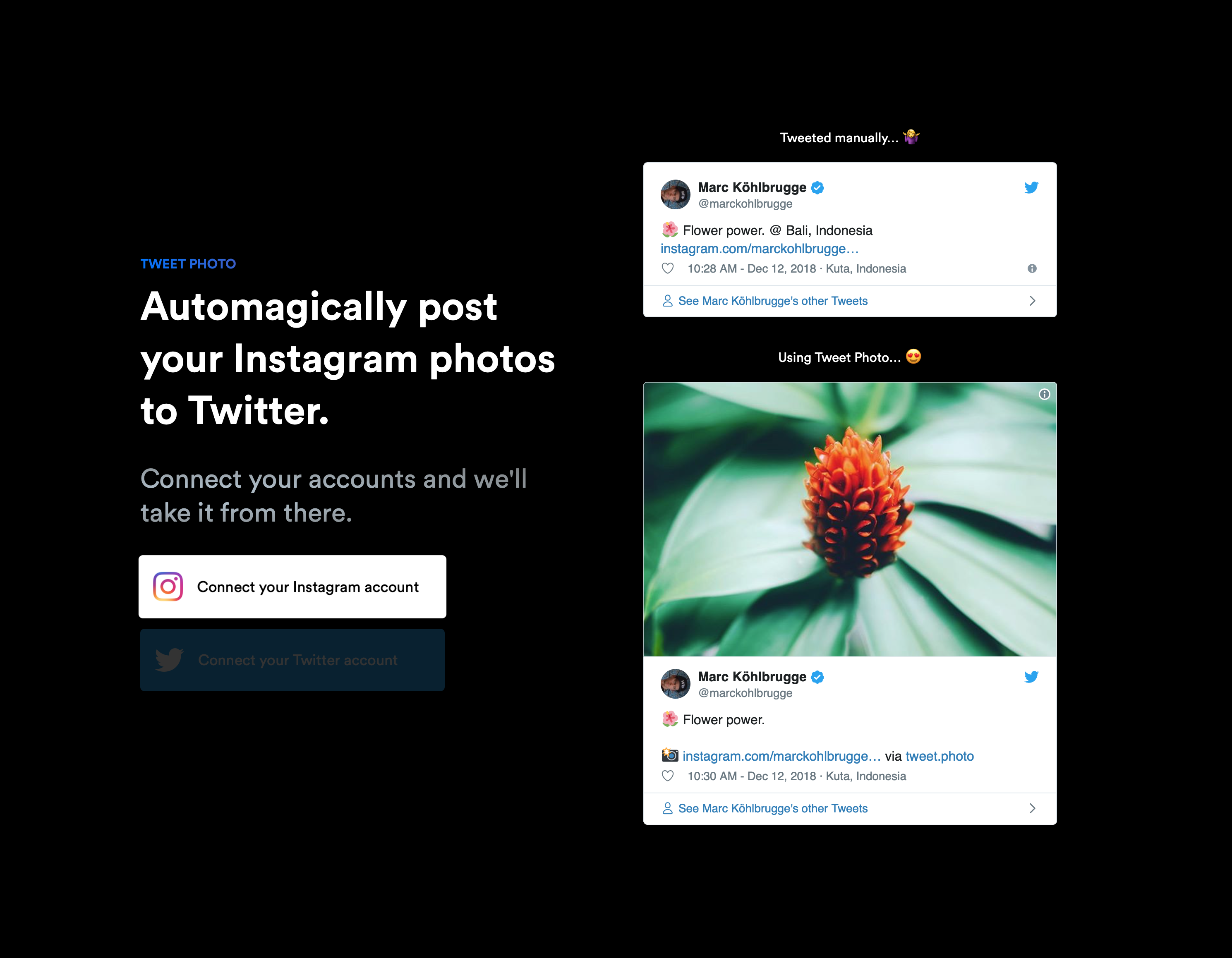 Tweet Photo - Automagically post your Instagram photos to Twitter ✨
