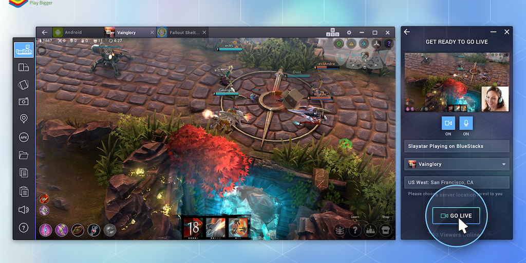 BlueStacks TV - Play + stream Android games to Twitch