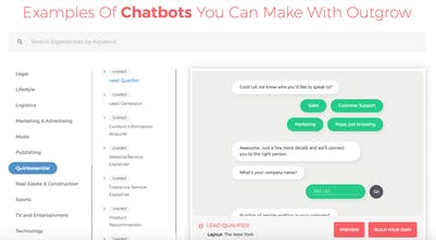 Outgrow Chatbots - Automatically turn website visitors into