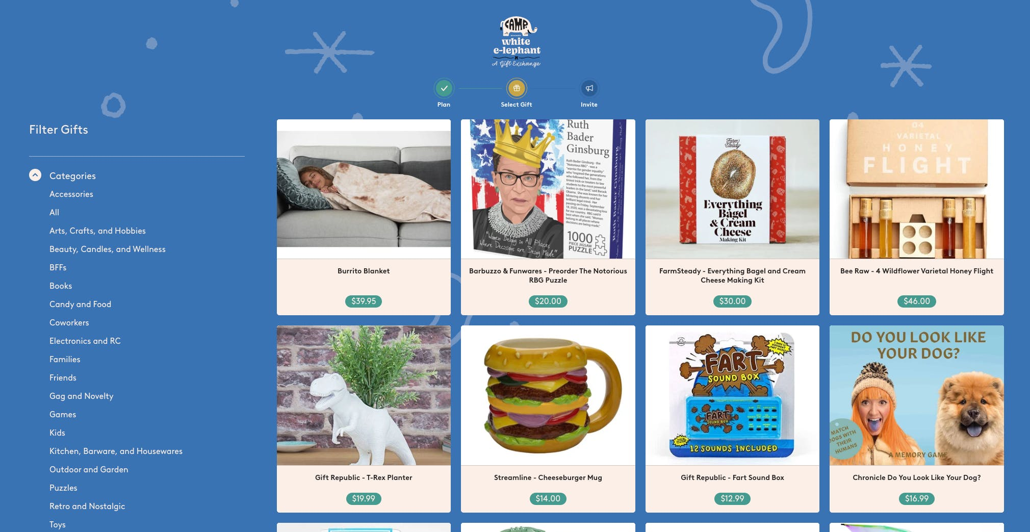 Camp White Elephant Online Gift Exchange   All the fun of a White ...