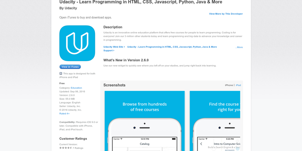 Udacity for iOS - Learn programming and other tech skills updated