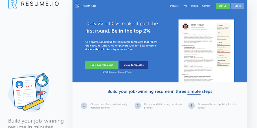 resume io easy resume builder product hunt