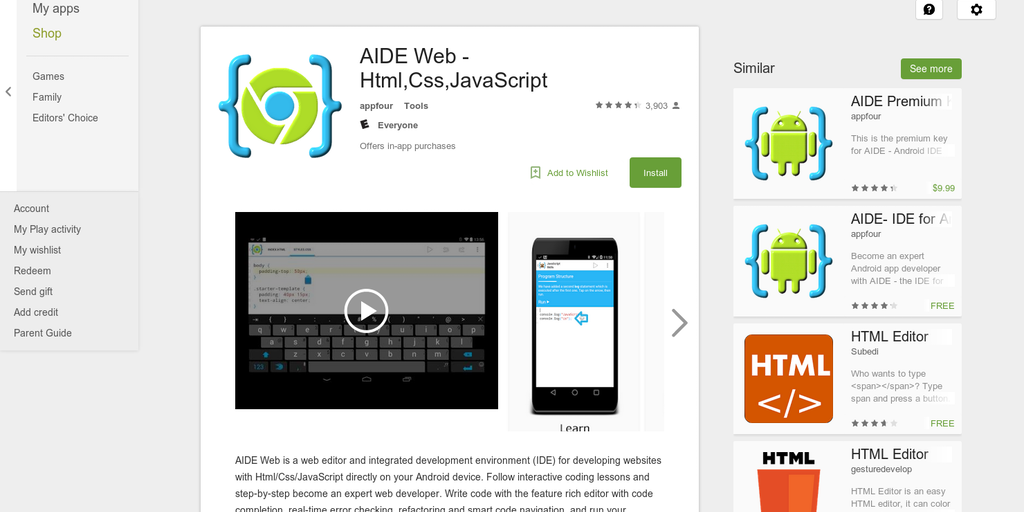AIDE Web - IDE for web development directly on your Android device
