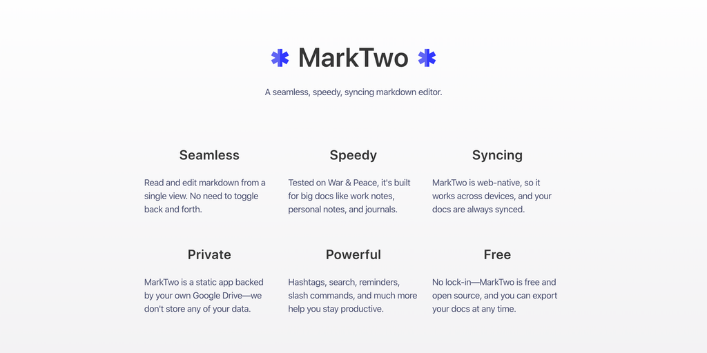 MarkTwo - A seamless, speedy, syncing markdown editor | Product Hunt