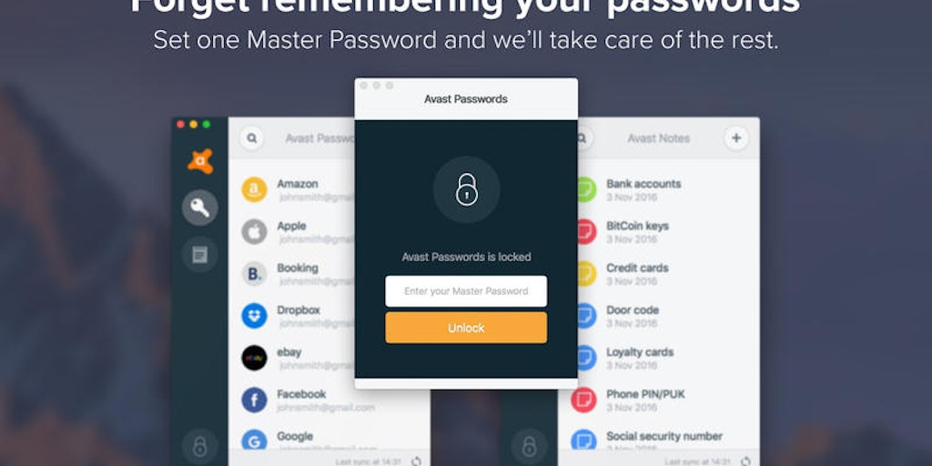 avast passwords is locked