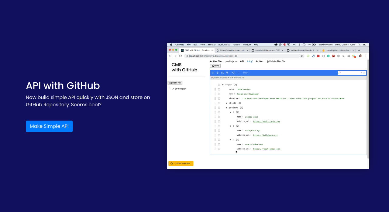 APIs With GitHub - Create simple JSON APIs with GitHub Repository