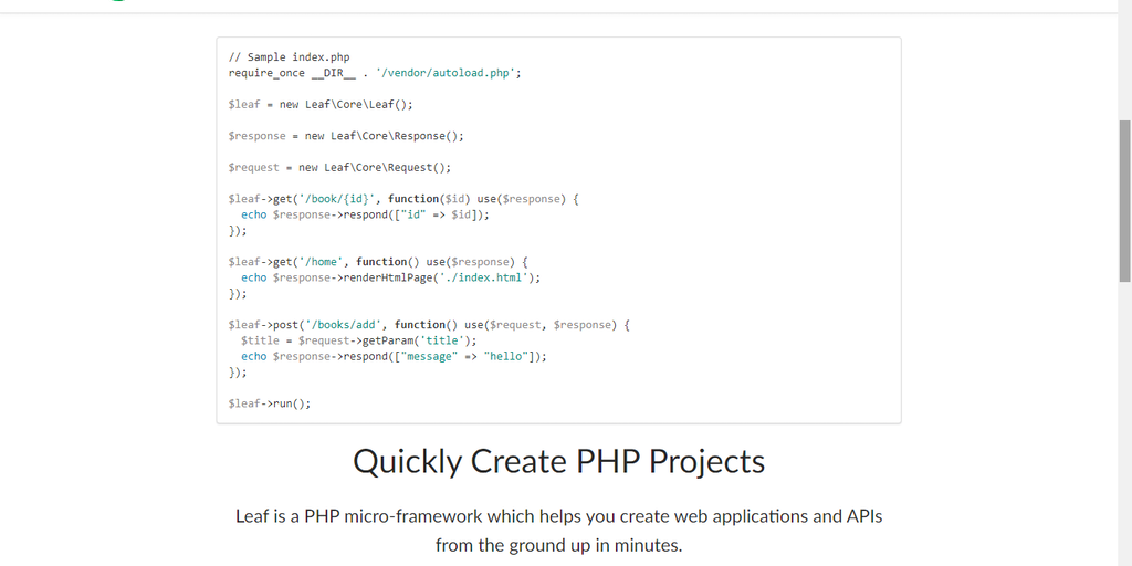 Leaf PHP - Create clean, simple but powerful web apps and APIs quickly | Product Hunt