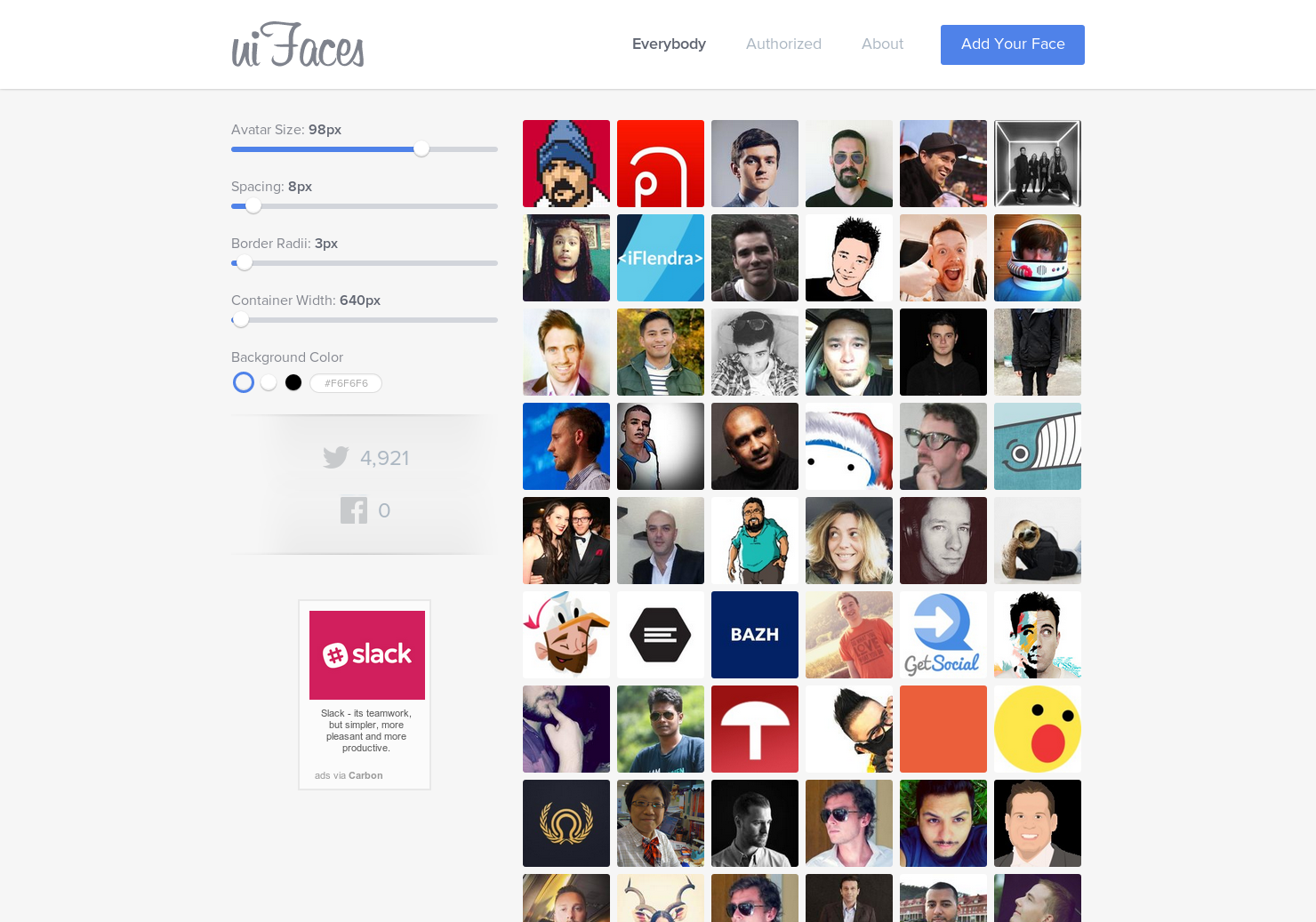 uiFaces - Faces you can use for avatars in your sample UI mockups